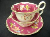 SOLD MINTON claret ground tea & coffee trio c1830